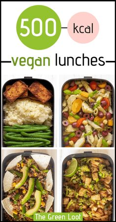 Vegan Lunch Recipes for Weight Loss - These Vegan Lunches are great for a weight loss meal prep routine. Easy and tasty meals that will fill you up until dinner. Vegan Lunch Recipes, Vegan Lunches, Vegan Meal Prep, Dinner Recipes, Healthy Recipes, Tasty Meals, Dinner Ideas, Soup Recipes, 500 Calories