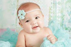 Aqua Blue Fabric Flower Bead Headband | Beautiful Photo Props