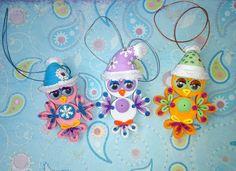 3db Karácsonyi bagoly karácsonyfa játék Quilling art 3D Quilling Quilled díszítés Aranyos Karácsonyi dekoráció Karácsonyi dísz