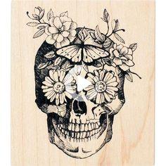 Buy the Inkadinkado® Floral Skull Wood Stamp at Michaels.com. Enhance your planner or scrapbook pages with this floral skull stamp from Inkadinkado. Feminine Skull Tattoos, Floral Skull Tattoos, Sugar Skull Tattoos, Pretty Skull Tattoos, Sugar Skull Sleeve, Turtle Tattoos, Tribal Tattoos, Arm Sleeve Tattoos, Japanese Sleeve Tattoos