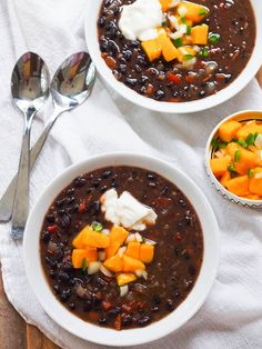 Vegan black bean soup with sweet and spicy mango salsa