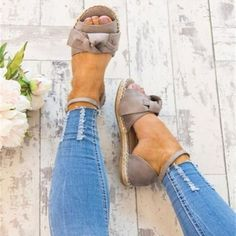 9f7c356d06 Weave Bowknot Peep Toe Ankle Strap Women Flat Sandals