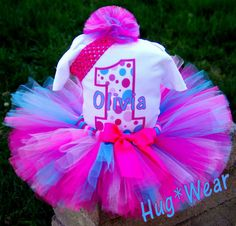 You choose the colors~~ Custom Birthday Tutu Set  Comes with childs name & age (etsy.com)