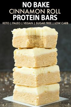 Easy No Bake Paleo Vegan Cinnamon Roll Protein Bar Recipe (Keto, Low Carb, Sugar. - Easy No Bake Paleo Vegan Cinnamon Roll Protein Bar Recipe (Keto, Low Carb, Sugar Free)- Quick and e - Protein Rich Snacks, Low Carb Protein Bars, Protein Bar Recipes, Protein Desserts, Protein Powder Recipes, Protein Foods, Keto Snacks, Protein Cake, Protein Muffins