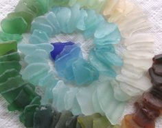 54 Natural Sea Glass Shards Imperfections Art Mosaic Craft Supplies (1770)