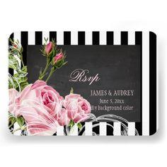 PixDezines rsvp chalkboard vintage roses swirls Custom Announcements