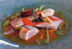 Fish and Vegetable Soup with Lime, Ginger, and Cilantro