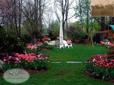 Lovely family backyard with tulip borders - Summerset Gardens - Elegant Landscape Design Serving NJ & NY - 845-987-1270
