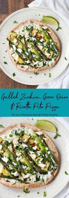 Grilled Zucchini, Green Onion and Ricotta Pita Pizza #pizza #quickrecipe #easyrecipe #pita #vegetarian