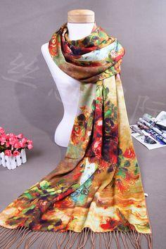 Lujo 100% seda de mora + lana doble tejidos pintados a mano en tonos cálidos borlas flores de la mujer mantón de las bufandas de color #1(China (Mainland))