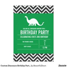 Custom Dinosaurs Birthday Party Invitation