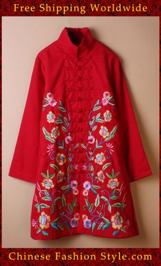 100% Handmade Linen Cotton Blouse Shirt Top - Oriental Chinese Embroidery Art #117 http://www.chinesefashionstyle.com/jackets-blouses/