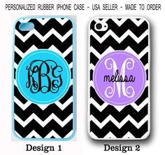 CUSTOM BLUE PURPLE  BLACK CHEVRON MONOGRAM RUBBER CASE FOR IPHONE 6S 6 SE 5S 5C #UnbrandedGeneric