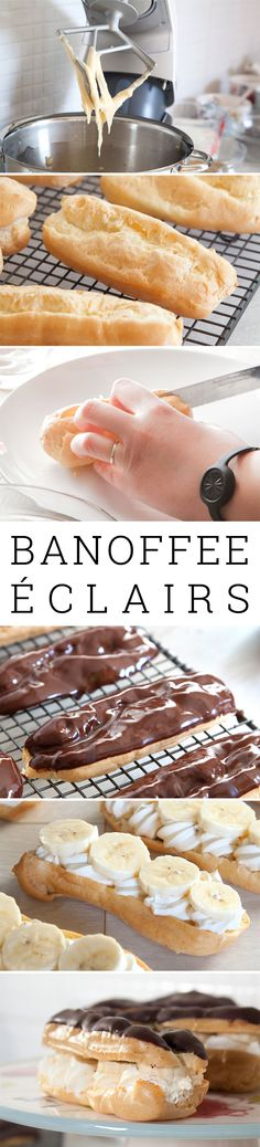 Banoffee éclairs! The filling is a whipped cream infused with muscovado sugar and topped with slices of fresh banana. Divine.