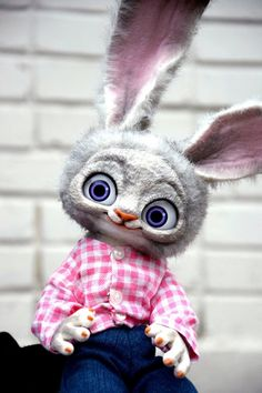 Items similar to Judy Hopps Bunny from Zootopia, Fantasy creatures & pets toys for gifts and home decorating, Realistic Stuffed Animals toys for collectibles on Etsy Magical Creatures, Fantasy Creatures, Realistic Stuffed Animals, Mystical Animals, Judy Hopps, Anime Animals, Hand Puppets, Zootopia, Softies