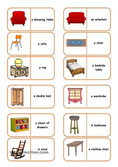 Shopping for Furniture Dominoes - English ESL Worksheets English Activities, Preschool Learning Activities, Teaching Kids, Kids Learning, English Reading, English Fun, Learn English, English Language Learning, Teaching English