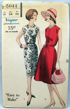 1960 Vintage Vogue Easy to Make Sewing Pattern 5044 Flared or Straight Skirt Dress Size 14 Bust 34. Flared or straight skirt joins sleeveless bodice