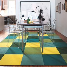 Pretty awesome idea. Not cheap, but for the most part, it seems cheaper than many of the rugs I've pinned here. Need to think about how these rugs will hold up to my new office chair's wheel casters, too, though....