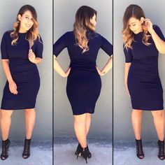 AUDREY -Navy dress •Also available in Black •True to size •Has stretch •Has lining •Not see-through