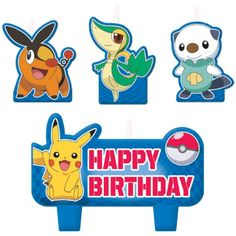 Pokemon Molded Cake Candle Set 4 Pieces Pikachu Happy Birthday Set Party - List price: $5.15 Price: $4.19