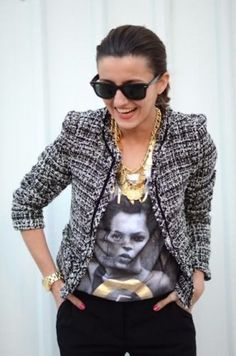 Chanel Jacket with golden jewelry and printed top on FabFashionBlog.com