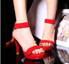 Women new Fashion summer noble elegant sexy 10cm high thin heels sandals 2015 scrub shoes large plus size 40-43