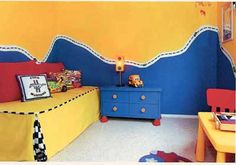 Raring to Go TODDLER BEDROOM Decorating Idea  --  Lots of little guys are crazy for vehicles -- especially race cars.
