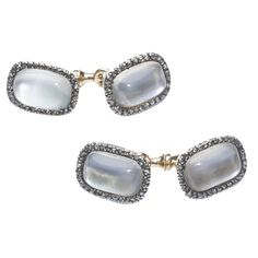 1900s Faberge Moonstone Silver Gold Cufflinks | From a unique collection of vintage cufflinks at…