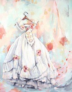 Vintage Dress Painting - Shabby Chic Romantic - Print - Pink and Blue Fairytale Gown, Pretty Little Dress, Dress Painting, Watercolor Canvas, Watercolour, Custom Canvas Prints, Paper Fashion, Collage Vintage, Pink Art