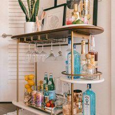 Bar Cart Styling, Bar Cart Decor, Diy Bar Cart, Home Bar Decor, Gold Bar Cart, Home Decoration, Room Decorations, Wedding Decoration, Apartment Balcony Decorating
