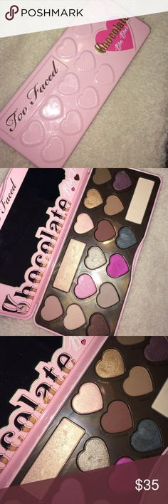 """Too faced """"Chocolate Bon Bons"""" eyeshadow palette AUTHENTIC. USED. 3 colors have been swatched which are """"satin Sheets"""" , """"Molasses Chip"""" & """"Earl Grey"""". One color has been damaged by my nail sadly which is """"Café au lait"""" :( Sephora Makeup Eyeshadow"""