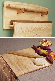 Trío de Baker - tabla de amasar, Palo de amasar, y Wall rack Plan de Tratamiento de la madera, regalos y accesorios de las decoraciones de cocina