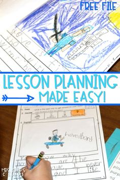 kindergarten lesson plans made easy just print and teach! Free file too!  Common Core reading lesson plans and writing plans, plus math lessons too!