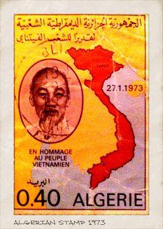 Algerian Postage stamp Depicting Ho Chi Minh and  Vietnam .