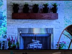 Property Brothers screened in porch with mantle & plants Home Building Design, Building A House, Property Brothers, Screened In Porch, Mantle, Home Projects, Paint Colors, Plants, Painting