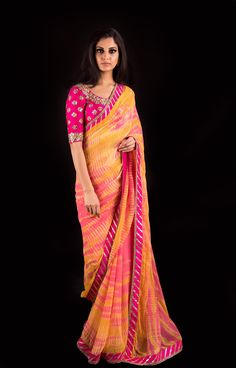 Haldi yellow and Rani pink Leheriya sari with Darpan Gota blouse Banjara Mrunalini Rao. 20 July 2017