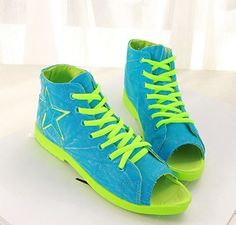 2015 New Fashion Women's Summer Original Denim Cowboy Blue Star lace up High Cut Open Toe Canvas Shoes sapatas das mulheres