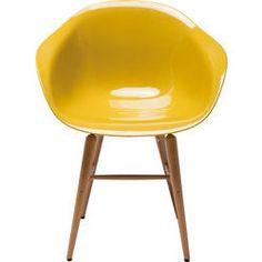 Chaise à. acc Forum jaune moutarde a./pieds bois