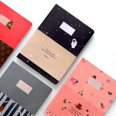 Ruled Notebook  4 Types  / Simple notebook / Illust by DubuDumo