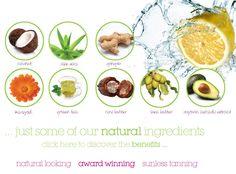 Natural ingredients in Sienna X Spray Tan #siennax #spraytan #natural #beautiful #coconut #aloevera #ginger #marigold #greentea #cocoabutter #sheabutter #avocadoextract #organic