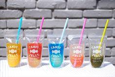 Food Packaging Design, Beverage Packaging, Cafe Menu, Cafe Food, Sakura Mochi, Mini Cafe, Herbalife Shake Recipes, Bubble Milk Tea, Ice Cream Candy