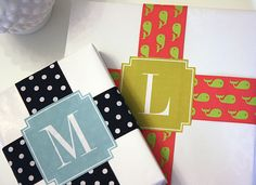 Free Printable Monogrammed Gift Package Labels by For Chic Sake- Pick your letter and color!