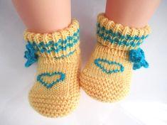 Herz gelb wolle Baby Booties Socken Größe von von MyMayaMade
