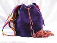 "Extra Large Purple Wayuu Mochila Bag.  Love this one!  ""The Wayuu Mochila bags are made by the Wayuu, a group of indigenous people who live in La Guajira Peninsula in northern Colombia and north west Venezuela. Each mochila is hand-made by one woman and each woman has her own signature.""  [Here's the gorgeous picture that made me investigate them in the first place: http://pinterest.com/pin/175218241722854009/ ]"