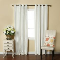 Shop for Brielle Fortune Faux Dupioni Silk-lined Insulated Room-darkening Curtain Panel. Get free delivery On EVERYTHING* Overstock - Your Online Home Decor Outlet Store! Get in rewards with Club O! Lined Curtains, Grommet Curtains, Blackout Curtains, White Curtains, Curtain Panels, Window Panels, Thing 1, Curtain Styles, Room Darkening Curtains