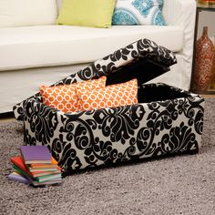 Bolbolac Floral Print Storage Ottoman with Button   Overstock.com
