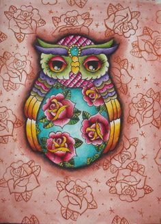 A4 vintage russian doll owl tattoo print on Etsy, $9.48