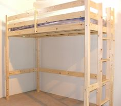 a397ed77592d Loft Bunk Bed - 3ft single wooden high sleeper bunkbed - heavy duty use -  CAN