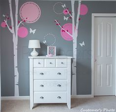 Nursery Tree Wall Decal Baby Girls Wall Murals Elegant Tree Stickers Flying Butterflies Decals - Nice Two Birch Trees