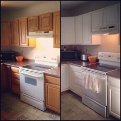 Painted kitchen cabinets using Rustoleum cabinet transformation! Awesome product!